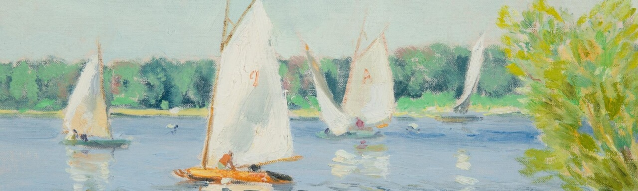 impressionist painting of sailboats on a lake